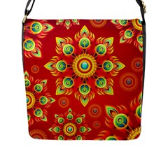 Red And Orange Floral Geometric Pattern Flap Messenger Bag (l)  by LovelyDesigns4U