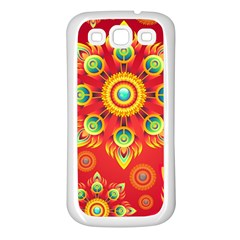 Red And Orange Floral Geometric Pattern Samsung Galaxy S3 Back Case (white) by LovelyDesigns4U