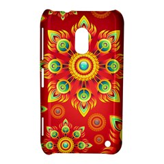 Red And Orange Floral Geometric Pattern Nokia Lumia 620 by LovelyDesigns4U