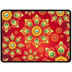 Red And Orange Floral Geometric Pattern Double Sided Fleece Blanket (large)  by LovelyDesigns4U