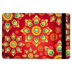 Red And Orange Floral Geometric Pattern Ipad Air Flip by LovelyDesigns4U