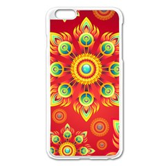 Red And Orange Floral Geometric Pattern Apple Iphone 6 Plus/6s Plus Enamel White Case by LovelyDesigns4U