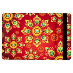Red And Orange Floral Geometric Pattern Ipad Air 2 Flip by LovelyDesigns4U