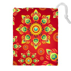 Red And Orange Floral Geometric Pattern Drawstring Pouches (xxl) by LovelyDesigns4U