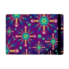 Purple And Green Floral Geometric Pattern Ipad Mini 2 Flip Cases by LovelyDesigns4U