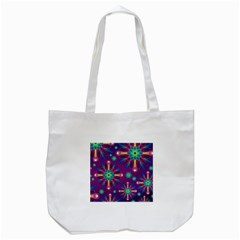 Purple And Green Floral Geometric Pattern Tote Bag (white) by LovelyDesigns4U