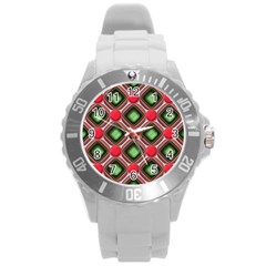 Gem Texture A Completely Seamless Tile Able Background Design Round Plastic Sport Watch (l) by Nexatart