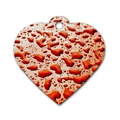Water Drops Background Dog Tag Heart (two Sides)