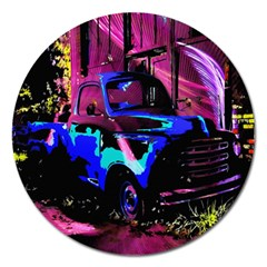 Abstract Artwork Of A Old Truck Magnet 5  (round) by Nexatart