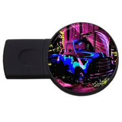 Abstract Artwork Of A Old Truck Usb Flash Drive Round (2 Gb) by Nexatart