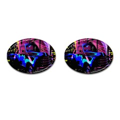 Abstract Artwork Of A Old Truck Cufflinks (oval) by Nexatart