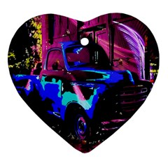 Abstract Artwork Of A Old Truck Heart Ornament (two Sides) by Nexatart