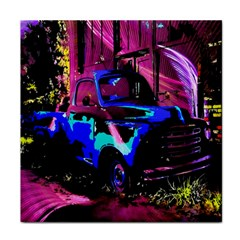Abstract Artwork Of A Old Truck Face Towel by Nexatart