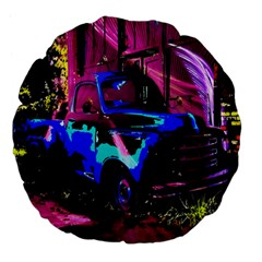 Abstract Artwork Of A Old Truck Large 18  Premium Flano Round Cushions by Nexatart