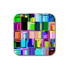 Glitch Art Abstract Rubber Square Coaster (4 Pack)  by Nexatart