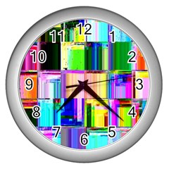 Glitch Art Abstract Wall Clocks (silver)  by Nexatart