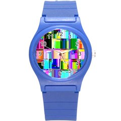 Glitch Art Abstract Round Plastic Sport Watch (s)