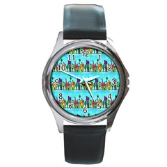 Colourful Street A Completely Seamless Tile Able Design Round Metal Watch by Nexatart