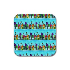 Colourful Street A Completely Seamless Tile Able Design Rubber Square Coaster (4 Pack)  by Nexatart