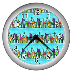 Colourful Street A Completely Seamless Tile Able Design Wall Clocks (silver)  by Nexatart