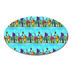 Colourful Street A Completely Seamless Tile Able Design Oval Magnet by Nexatart
