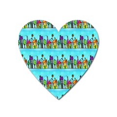 Colourful Street A Completely Seamless Tile Able Design Heart Magnet by Nexatart