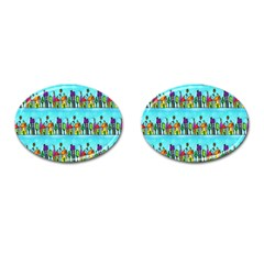 Colourful Street A Completely Seamless Tile Able Design Cufflinks (oval) by Nexatart