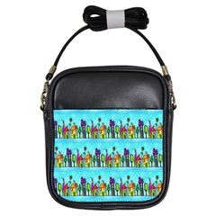 Colourful Street A Completely Seamless Tile Able Design Girls Sling Bags by Nexatart