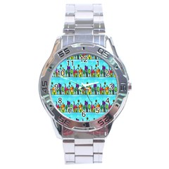 Colourful Street A Completely Seamless Tile Able Design Stainless Steel Analogue Watch by Nexatart