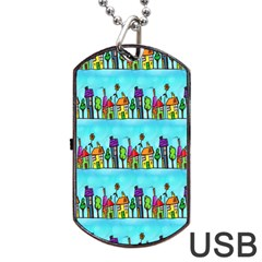 Colourful Street A Completely Seamless Tile Able Design Dog Tag Usb Flash (two Sides)
