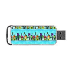 Colourful Street A Completely Seamless Tile Able Design Portable Usb Flash (two Sides) by Nexatart