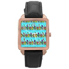 Colourful Street A Completely Seamless Tile Able Design Rose Gold Leather Watch  by Nexatart