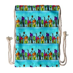 Colourful Street A Completely Seamless Tile Able Design Drawstring Bag (large)