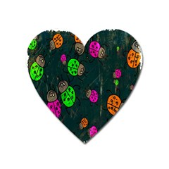 Cartoon Grunge Beetle Wallpaper Background Heart Magnet by Nexatart