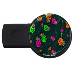 Cartoon Grunge Beetle Wallpaper Background Usb Flash Drive Round (4 Gb)