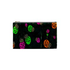 Cartoon Grunge Beetle Wallpaper Background Cosmetic Bag (small)