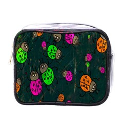 Cartoon Grunge Beetle Wallpaper Background Mini Toiletries Bags by Nexatart