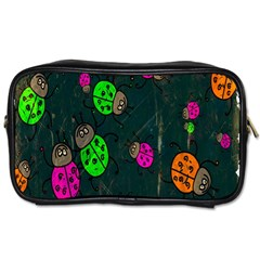 Cartoon Grunge Beetle Wallpaper Background Toiletries Bags by Nexatart