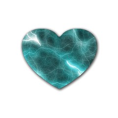 Light Web Colorful Web Of Crazy Lightening Rubber Coaster (heart)  by Nexatart