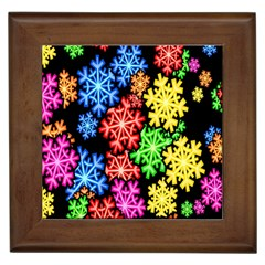 Colourful Snowflake Wallpaper Pattern Framed Tiles
