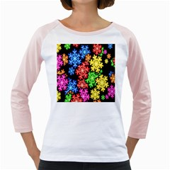 Colourful Snowflake Wallpaper Pattern Girly Raglans