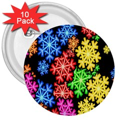 Colourful Snowflake Wallpaper Pattern 3  Buttons (10 Pack)