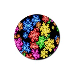 Colourful Snowflake Wallpaper Pattern Rubber Coaster (round)  by Nexatart