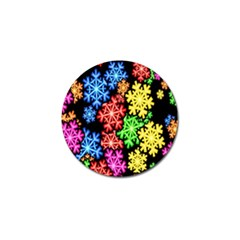 Colourful Snowflake Wallpaper Pattern Golf Ball Marker (4 Pack) by Nexatart