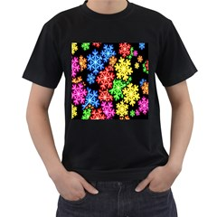 Colourful Snowflake Wallpaper Pattern Men s T Shirt (black) (two Sided)