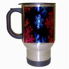 Colourful Snowflake Wallpaper Pattern Travel Mug (silver Gray) by Nexatart