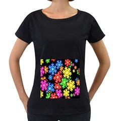 Colourful Snowflake Wallpaper Pattern Women s Loose Fit T Shirt (black) by Nexatart