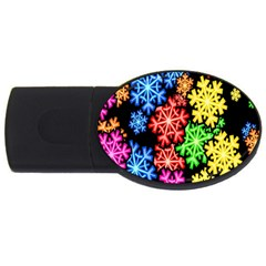 Colourful Snowflake Wallpaper Pattern Usb Flash Drive Oval (4 Gb) by Nexatart