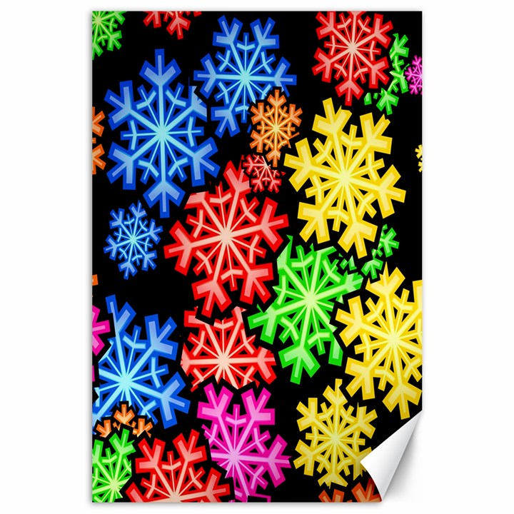 Colourful Snowflake Wallpaper Pattern Canvas 24  x 36