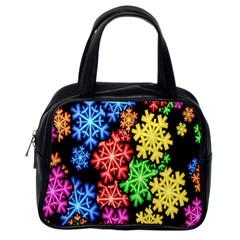 Colourful Snowflake Wallpaper Pattern Classic Handbags (one Side) by Nexatart